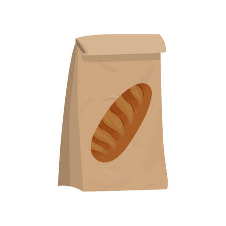 Kraft paper bag for bread, package for bakery products vector illustration