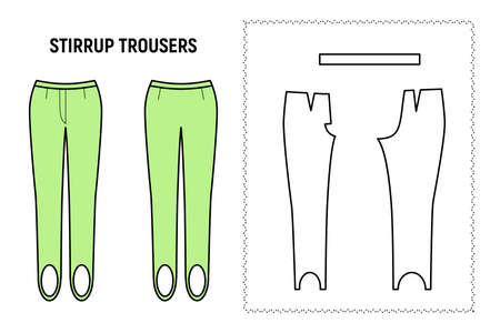 Stirrup trousers for woman. Pants vector pattern for tailor. Technical design illustration and sketch. 向量圖像