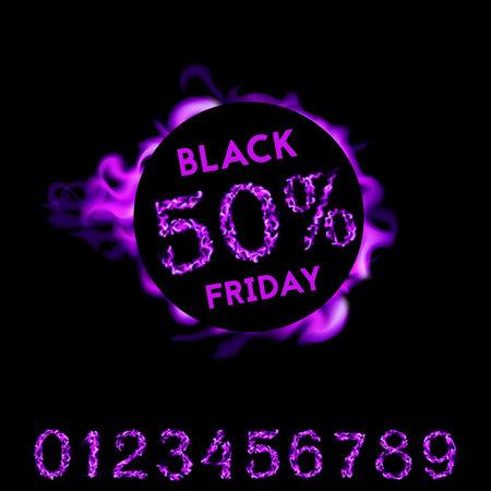80 percent off black friday. Violet neon fire design on black background. Vector illustration 向量圖像