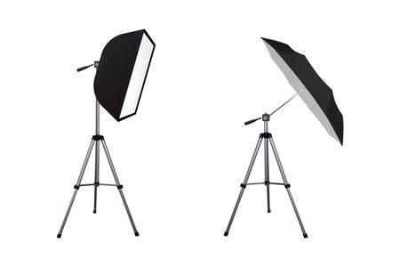Soft box and black umbrella reflector. Photo equipment. Vector illustration. Spotlight softbox.