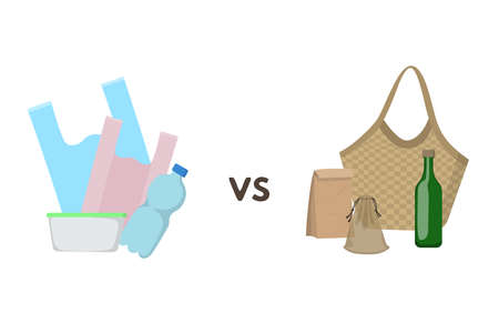 Plastic container vs eco friendly paper packaging, straw and textile bags, glass bottle.