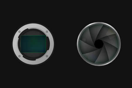 Image sensor and shutter. Vector illustration. Camera matrix.