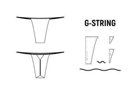 G string panties for woman. Underwear vector pattern for tailor. Technical design illustration and sketch.