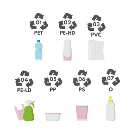 Waste sorting set vector illustration. 01, 02, 03, 04, 05 06 07 plastic type