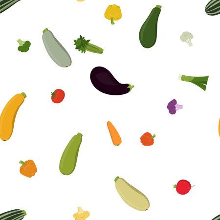 Vector illustration zucchini, eggplant, celery, pepper, tomato, broccoli, cauliflower, onion carrot Seamless pattern background with farm vegetables