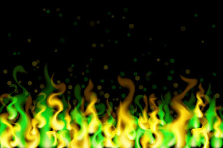 Green and yellow fire on black background. Neon flame vector illustration. Blaze design.
