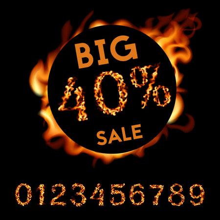 40 percent big sale. Fire design on black background. Vector illustration