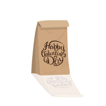 Gift paper crafting package. Valentines Day. Calligraphic inscription. Stock Illustratie