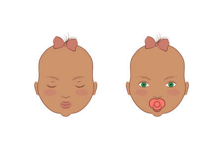 Caucasian twins girls. Vector illustration of the portrait of cute babies.