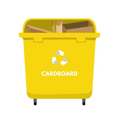 Waste sorting set vector illustration. Trash bin for cardboard, recycling package