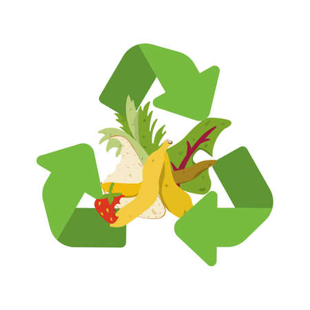 Organic recycle symbol. Compost vector illustration, ruits, vegetables and herbs