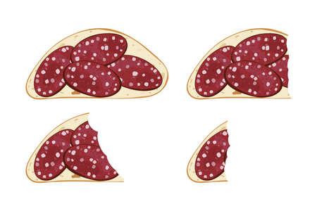 Realistic bit sandwich set with sausage. Vector illustration snack food.