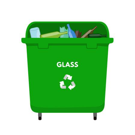 Waste sorting set vector illustration. Green dumpster for glass, recycling bottle package 向量圖像