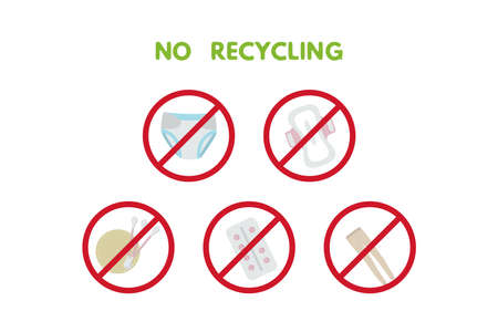 Waste sorting set vector illustration. No recycling trash, nylon, diapers, pad, tampon, tablets, glue wet wipes sticks 向量圖像