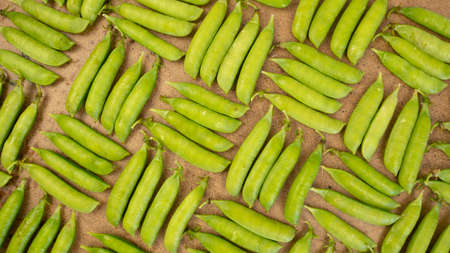 Green fresh peas pods background. Geometric pattern, vegetatian food harvesting 版權商用圖片