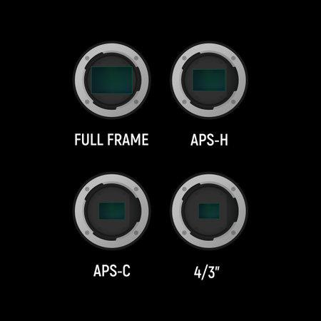Image sensor set. Vector illustration. Full frame, APS-H, APS-C.