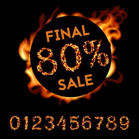 80 percent final sale. Fire design on black background. Vector illustration