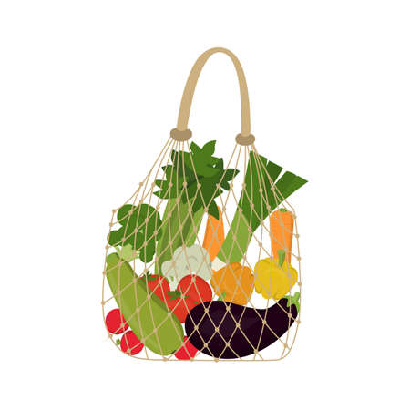 Eco friendly fabric bag with vegetables and greens. White background, vector illustration. Reusable textile handbags 向量圖像