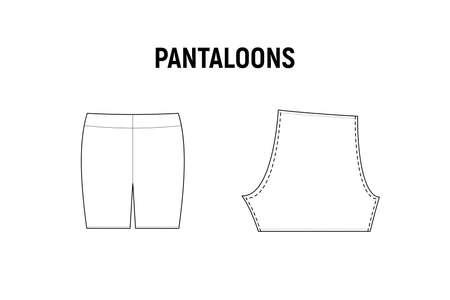 Pantaloons panties for woman. Underwear vector pattern for tailor. Technical design illustration and sketch. Иллюстрация