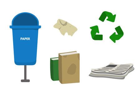 Waste sorting set vector illustration. Blue dumpster bin for paper. Newspaper, book, leaflet, cellulose 向量圖像
