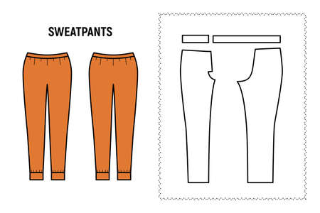 Sweatpants trousers for woman. Pants vector pattern for tailor. Technical design illustration and sketch. 向量圖像