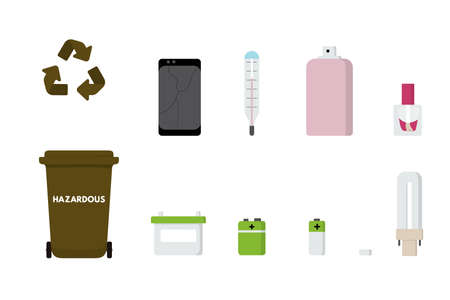 Hazardous waste sorting set vector illustration. Mercury thermometer, lamp, mobile phone, battery, spray in garbage bin. 向量圖像