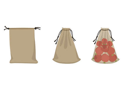 Fabric eco bags, textile packaging with Radish. Vector illustration farm products