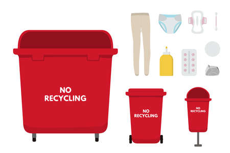 Waste sorting set, flat, infographics vector illustration. Red bins for no recycling trash, nylon, diapers, pad, tampon, tablets glue