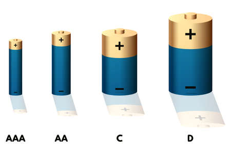 Blue battery set vector illustration. AAA, AA, D and D size.