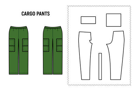 Cargo trousers for woman. Pants vector pattern for tailor. Technical design illustration and sketch.