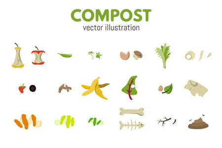Organic recycle compost set. Food waste vector illustration.