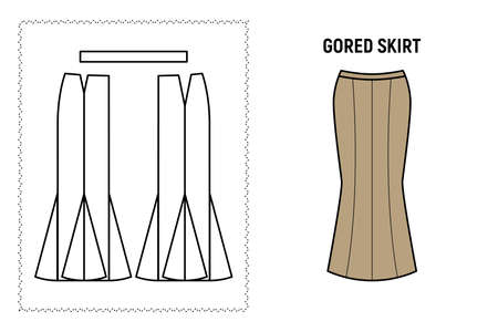 Women gored midi skirt pattern. Technical drawing for sewing. Vector illustration.