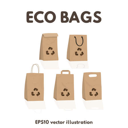 Paper craft recyclable bags set. Vector illustration eco packages.