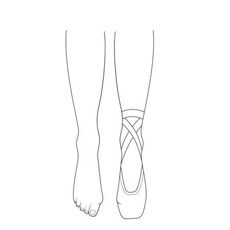 Professional ballerinas hallux valgus. The dancers legs are barefoot and in pointes. Outline vector illustration. 向量圖像
