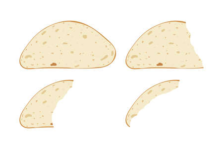 Bread slices pieces set. Vector illustration. Bite bakery food. Snack and breakfast. 向量圖像