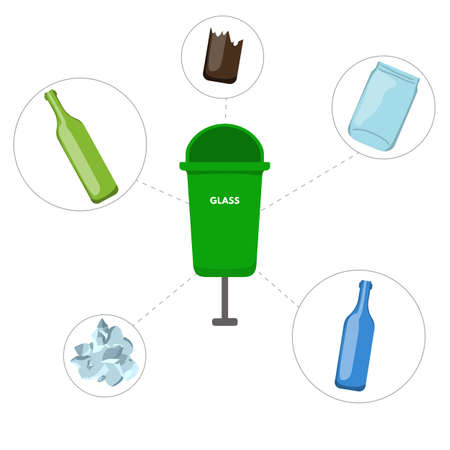 Waste sorting set vector illustration. Green trash container for glass, recycling bottle package