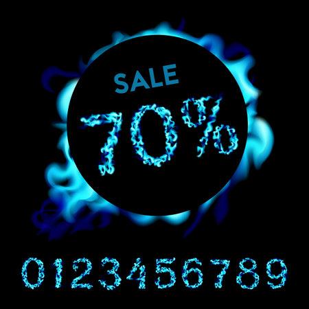 70 percent sale. Blue neon fire design on black background. Vector illustration