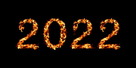 2022 New Year. Fire icon vector illustration. Flame design.