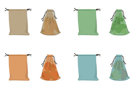 Fabric eco bags, textile packaging with carrots, tomato, broccoli, pepper. Vector illustration farm products