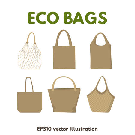 Eco friendly fabric bags. Icons set on white background, vector illustration. Reusable textile handbags
