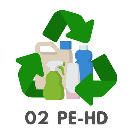Plastic recycle symbol. Vector illustration, PE-HD HDPE