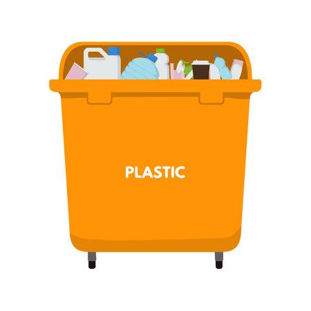 Waste sorting set. Vector illustration design. Orange garbage bin for plastic. Bottle, drink, bag, cosmetics, spray shampoo canister 向量圖像