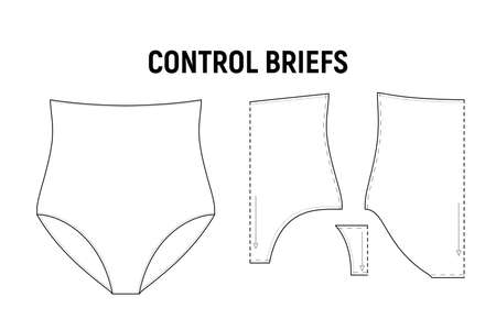 Control briefs panties for woman. Underwear corset vector pattern for tailor. Technical design illustration and sketch. Иллюстрация