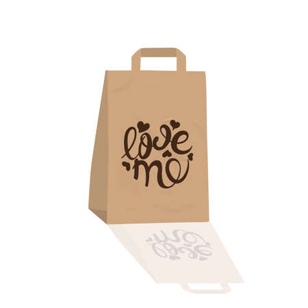 Gift paper crafting package. Valentines Day. Calligraphic inscription. Love me.