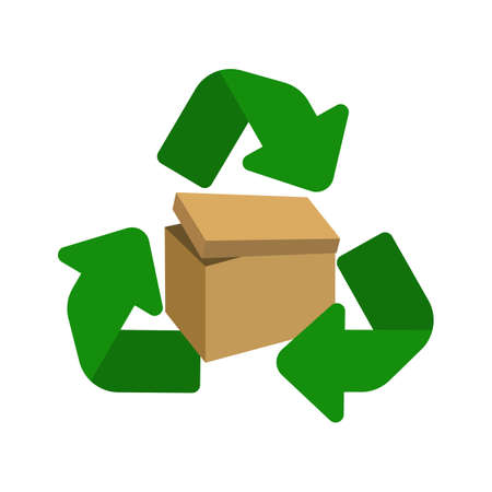 Cardboard recycle symbol. Packaging box waste vector illustration.