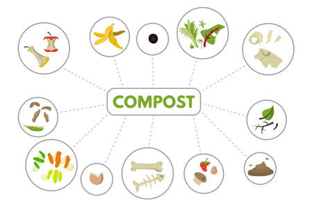 Organic recycle compost. Recyclable food waste vector illustration.