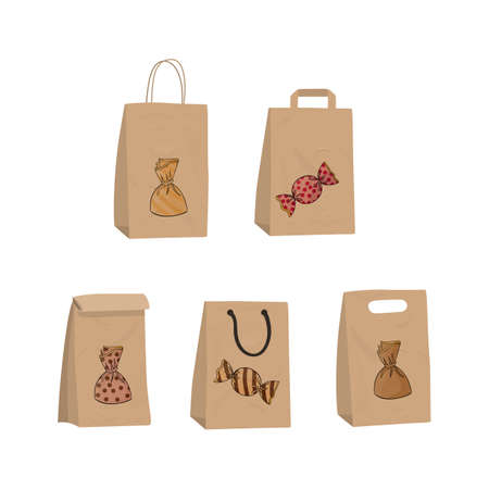 Candy in paper craft packaging. Design a gift for Christmas. Surprise for the New Year vector illustration.