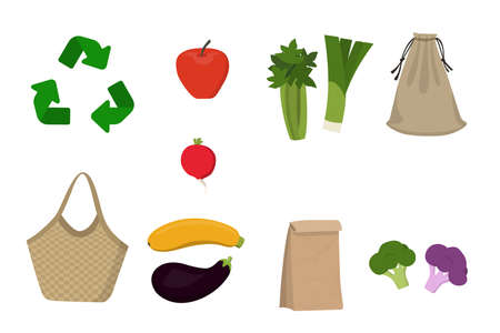 Eco bags and craft package. Icons set on white background vector illustration. Apple, radish, onion, celery, broccoli, zucchini, eggplant cauliflower 向量圖像