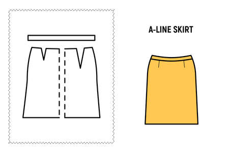 Women a line skirt pattern. Technical drawing for sewing. Vector illustration. 向量圖像