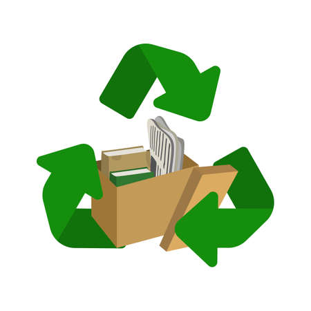 Cardboard and paper recycle symbol vector illustration. 向量圖像